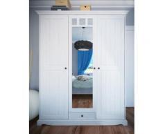 GRANADA Kleiderschrank 3-trg Kiefer massiv creme-weiß