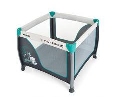 Hauck Play'n Relax SQ Reisebett, leichtes 3-teiliges, quadratisches Baby-Laufgitter, inkl. Matratze und Tasche, Liegefläche 90 x 90 cm, faltbar und tragbar, forest fun (grau)