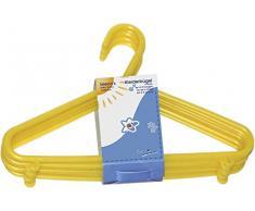 Bieco Kleiderbügel Kinder Baby Kinderkleiderbügel Babykleiderbügel Kunststoff Hangers Hosensteg Aufbewahrung für Kleiderschrank Schrank Länge 29,5cm, 32 Stück, gelb, schmal, Artn 90032139