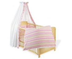Pinolino 60585-7 - Set für Kinderbett, 4-tlg., Streifen rosa/grün