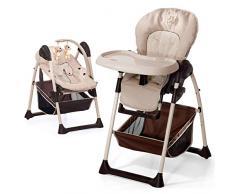Hauck Sitn Relax Newborn Set - Neugeborenen Aufsatz und Kinderhochstuhl ab Geburt, mit Liegefunktion / inkl. Spielbogen, Tisch, Rollen / höhenverstellbar, mitwachsend, klappbar, Zoo (Braun)