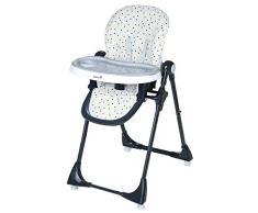 Safety 1st Kiwi Hochstuhl, höhenverstellbar, Tischchen mit abnehmbarem Tablett, kompakt zusammenklappbar, ab ca. 6 Monate bis max. 15 kg, grau/gepunktet