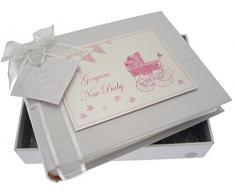 New Baby Fotoalbum, klein, pink Kinderwagen & Wimpelkette