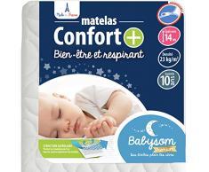 Babysom - Babymatratze Komfort +   Kindermatratze 60x120cm - Atmungsaktiv - Bezug abziehbar - Luftdurchlässiger Kaltschaum - Geprüft - Höhe 14cm