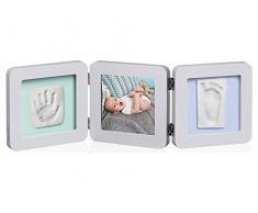 Baby Art My Baby Touch Double Print Frame, 3er Bilderrahmen für Foto, Hand und Fußabdruck, rund, hellgrau