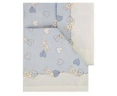 Italienische Bettwäsche 100% Baumwolle Kinderbett 60 x 120 (Set 3-teilig: Bettlaken + Bettbezug + Kissenbezug). Modell Bari. Blau