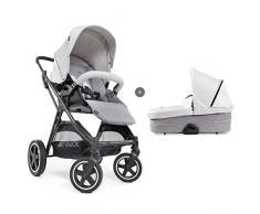 Hauck Mars Duoset Sportwagen + Beindecke + Babywanne, Sitz drehbar, bis 25 kg, 3XL Verdeck, großer Korb, kompakt faltbar, kompatibel mit Babyschale, lunar/stone