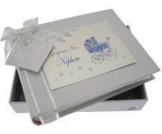 White Cotton Cards New Nephew Kleines Fotoalbum (blau Kinderwagen und Wimpelkette)