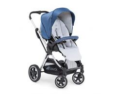 Hauck Mars Sportwagen mit Beindecke, Sitz drehbar, bis 25 kg, 3XL Verdeck, großer Korb, kompakt faltbar, kompatibel mit Babywanne & Babyschale, blau silber