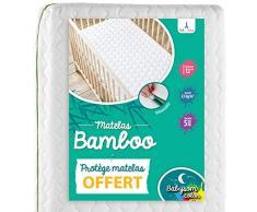 Babysom - Bambus Babymatratze  Kindermatratze + wasserdicht Matratzenschoner GESCHENKT - 60x120cm - Natur - Atmungsaktiv - Bezug abziehbar - Höhe 12cm