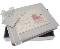 White Cotton Cards New Tochter Kleines Fotoalbum (Rosa Kinderwagen und Wimpelkette)