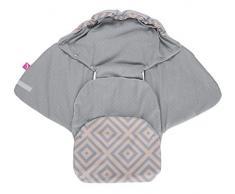 Baby Softshell Einschlagdecke für Babyschale, Autositz, Maxi-Cosi, Römer und andere Marken, ideal für Kinderwagen, Fahrradanhänger, Buggy - Quadrate apricot