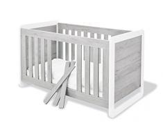 Pinolino 113440 Modernes, Trendiges Kinderbett mit 3 Schlupfsprossen, aus MDF, Edelmatt und Beschichtet, 140 X 70 cm, esche grau/weiß