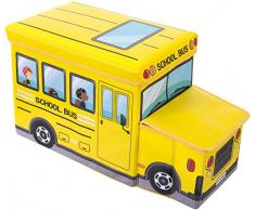 Bieco Aufbewahrungsbox mit Deckel Kinder Schulbus, faltbar, Sitzhocker mit Sitzgelegenheit, und Polsterung, Spielzeugkiste mit Stauraum, Sitztruhe, Jungen & Mädchen, 46 L, Belastbar bis 80 Kg, gelb