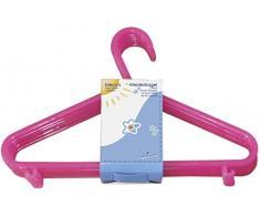 Bieco Kleiderbügel Kinder Baby Kinderkleiderbügel Babykleiderbügel Kunststoff Hangers Hosensteg Aufbewahrung für Kleiderschrank Schrank Länge 29,5cm, 16 Stück, pink, schmal, Artn 90016144
