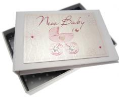 White Cotton Cards Fotoalbum Baby Tiny (Pink Kinderwagen, Bliss Range)