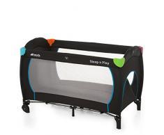 Hauck 600702 Sleep N Play Go Plus Kindereisebett, inkl. Rollen, seitlichem Reißverschluss, Faltmatratze und Transporttasche, 120 x 60 cm, schwarz