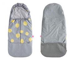 Fußsack aus SOFTSHELL für Buggy Kinderwagen Babyschale wasserdicht und winddicht- Kleckse gelb