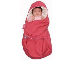 Wallaboo Einschlagdecke Coco, Universal für Babyschale, Autositz, ZB. für Maxi-Cosi, Römer, für Kinderwagen, Buggy oder Babybett, 100% Baumwolle, 90 x 70 cm, Farbe: Rot