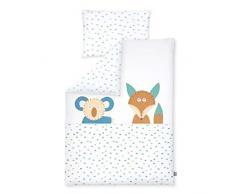 Kinderbettwäsche 100x135 + 40x60 cm, 100% Baumwolle, Made in Germany, Fox und Koala