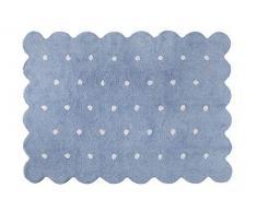Lorena Canals Waschbarer Teppich Biscuit Natürliche Baumwolle -Blau- Weiß- 120x160 cm