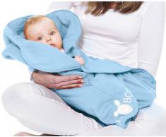 Wallaboo Einschlagdecke Fleur für Babyschale, Autokinderstitz, für Kinderwagen, Suße Blumenform, 0 - 12 Monaten, Farbe: Hell Blau