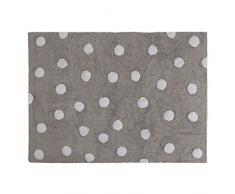Lorena Canals Waschbarer Teppich Polka Dots 100% Baumwolle -Grau- Weiß- 120x160 cm