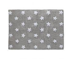 Lorena Canals Waschbarer Teppich Stars 100% Baumwolle -Grau- Weiß- 120x160 cm