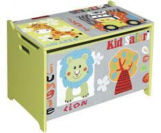 Bieco Aufbewahrungsbox aus Holz Safari, Spielzeugkiste mit Sitzbank und aufklappbaren Deckel, 89 l, Kindermöbel, Truhenbank oder Organisator, 74004813