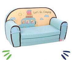 Delsit Kindersofa zum Ausklappbare Kindersessel Spielzimmer Baby Kindermöbel für Mädchen Camping, blau