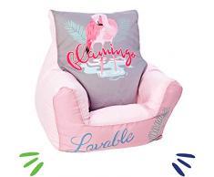 Delsit Kindersitzsack Kinder Sitzsack Spielzimmer Kindersessel für Jungen und Mädchen Flamingo, rosa