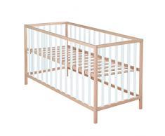 roba Kinderbett Cosi, 60x120 cm, Babybett Bio Buche Massivholz natur/weiß, Gitterbett 3-fach höhenverstellbar