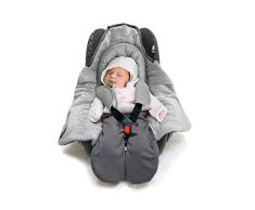 Wallaboo Einschlagdecke Universal für Babyschale, Autositz, z.B. für Maxi-Cosi,Römer, für Kinderwagen, Buggy oder Babybett, Kunstfell und Baumwolle, 96 x 90 cm, 0 - 12 Monaten, Farbe: Grau / Grau