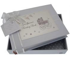 White Cotton Cards Kleines FotoalbumGrandparent s Boasting Book (Silber Kinderwagen und Wimpelkette)