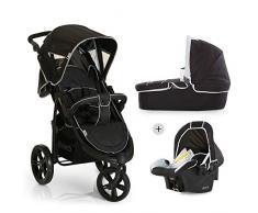 Hauck Viper SLX Trio Set/Dreirad Kinderwagen Set/Babyliegeschale/Liegebuggy, Gr. 0, Babywanne mit Matratze, ab Geburt bis 25 kg, höhenverstellbarer Griff, klein faltbar, leicht, caviar/grau