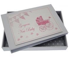 New Baby, Mini Fotoalbum, Rosa Kinderwagen & Wimpelkette