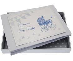New Baby, Mini Fotoalbum, blau Kinderwagen & Wimpelkette