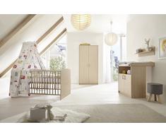 Schardt 11 522 04 00 Kinderzimmer 3 teilig bestehend aus, Kombi Kinderbett inklusiv Umbaukit, Wickelkommode und 2 türigen Kleiderschrank, 70 x 140 cm, Classic Buche