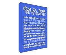 Feel Good Art Wandbild, Règles pour une Vie Heureuse (deutsch: Regeln für ein glückliches Leben), Leinwand auf Rahmen, blau, 60 x 40 x 4 cm