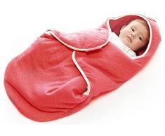 Wallaboo Einschlagdecke Coco, Universal für Babyschale, Autositz, zB. Für Maxi-Cosi, Römer, für Kinderwagen, Buggy oder Babybett, 100% Baumwolle, 90 x 70 cm, Farbe: Rot Gemischt