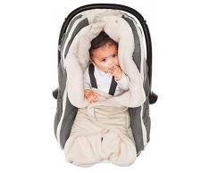 Wallaboo Einschlagdecke für Babyschale, Autokindersitz, für Kinderwagen, Buggy, Babybett, Schönen Blumenform, Veloursleder und fleece, 85 x 85 cm, 0 - 12 Monaten, Farbe: Ecru