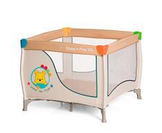 Hauck Sleep N Play SQ, leichtes quadratisches Baby-Laufgitter, Laufstall, Reisebett inklusive Matratze und Tasche, Liegefläche 90 x 90 cm, faltbar und tragbar, beige (Pooh Ready To Play)