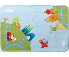 HABA 302927 - Teppich Stadtrundfahrt, farbenfroher Kinderteppich mit Tierfiguren für Mädchen und Jungs, Spielteppich 90 x 130cm, Filz-Rücken mit Antirutsch-Noppen, 30 °C schonend waschbar