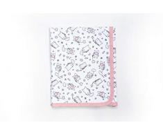 Ti TIN - weiche, saugfähige Babydecke, 80x75 cm | Krabbeldecke aus 100% Baumwolle mit doppellagigen Stoff, Babydecke fürs Auto, Wiege, Kinderwagen, Babyschale, etc, Katzen-Motiv, rosa