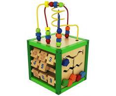Bieco Activity Würfel ca 20x20x20cm | Motorikspielzeug Baby | Kugelbahn Holz | Activity Board | Motorikwürfel Holz | Lernspielzeug ab 1 Jahren | Würfel Groß | Motorik Spielzeug 1 Jahr | Spieltisch