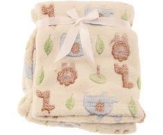 bieco Baby und Kinder Fleece-Decke, mit süßen Tier Motiven, kuschlig-weiche Tagesdecke, auch als Krabbeldecke oder Spieldecke geeignet, mehrfarbige Kuscheldecke