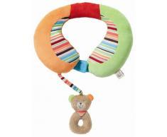 Fehn 091151 Nackenstütze Teddy - Nackenkissen mit kleinem Rassel-Teddy für Babys und Kleinkinder ab 6+ Monaten - Stützt und entlastet in Kinderwagen, Babyschale oder Auto