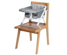 Safety 1st 2749191000 Sitzerhöhung Take Eat, kompakt zusammenfaltbare Sitzerhöhung mit eigenem Tisch, inkl. 3-Punkt-Gurt für einen sicheren Halt, ab ca. 18 Monate, Warm Grey, grau, 2.2 kg