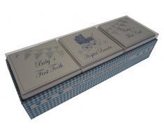 White Cotton Cards Baby s First Curl/Armband/Zahn-in Andenken Box Set (blauer Kinderwagen und Wimpelkette)
