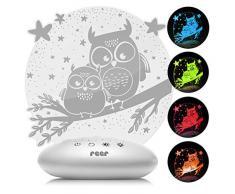 """reer 52131 ColourLumy """"Eule"""" Nachtlicht für Kinder mit Acrylglas-Scheibe, Farbwechsel, drei Helligkeits-Stufen, Timer-Funktion, , grau"""
